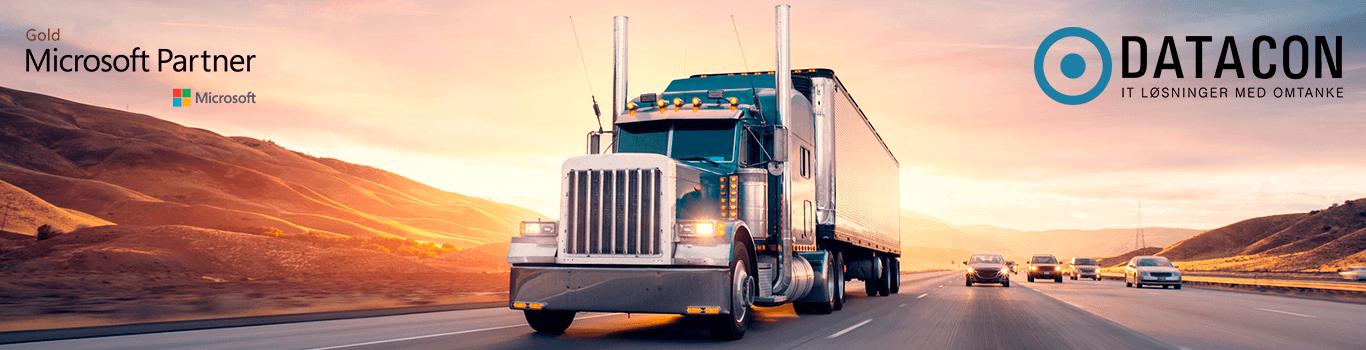 Lastbil med Datacon logo og Microsoft logo